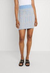 Vila - VICHEKINA SHORT SKIRT - Mini skirt - natural melange/blue - 0