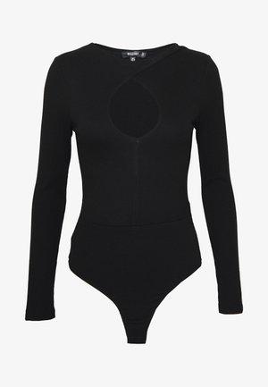 KEYHOLE FRONT BODYSUIT - Long sleeved top - black