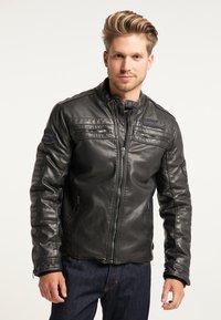 Petrol Industries - BIKERJACKE - Leather jacket - black - 0