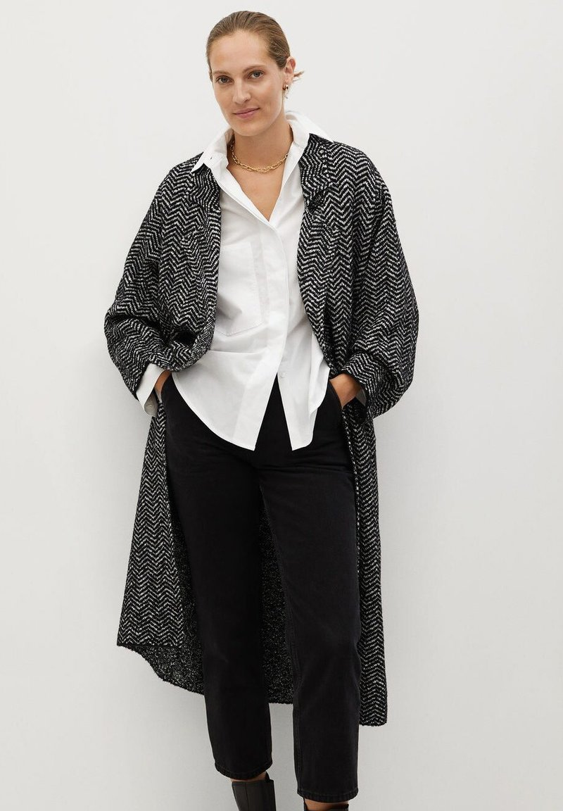 Mango - BONE - Classic coat - schwarz