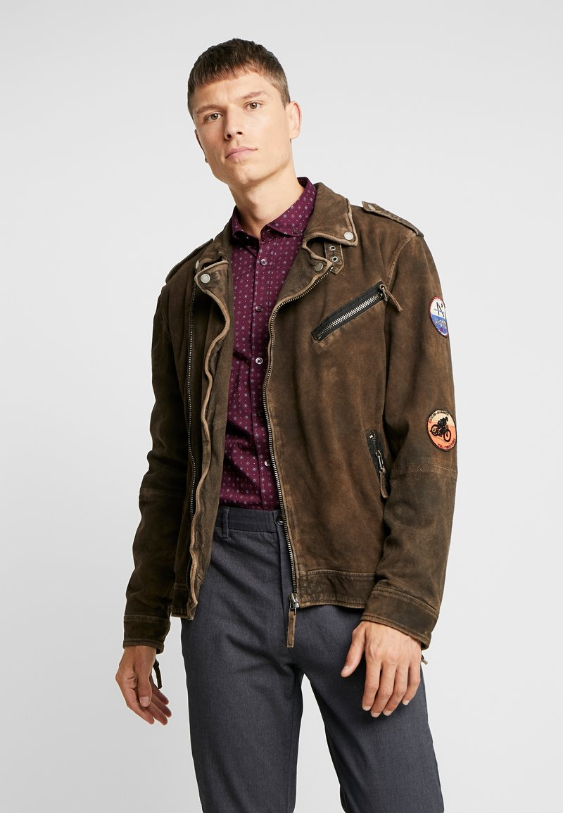 Freaky Nation - ELECTRIC MAN - Leather jacket - olive