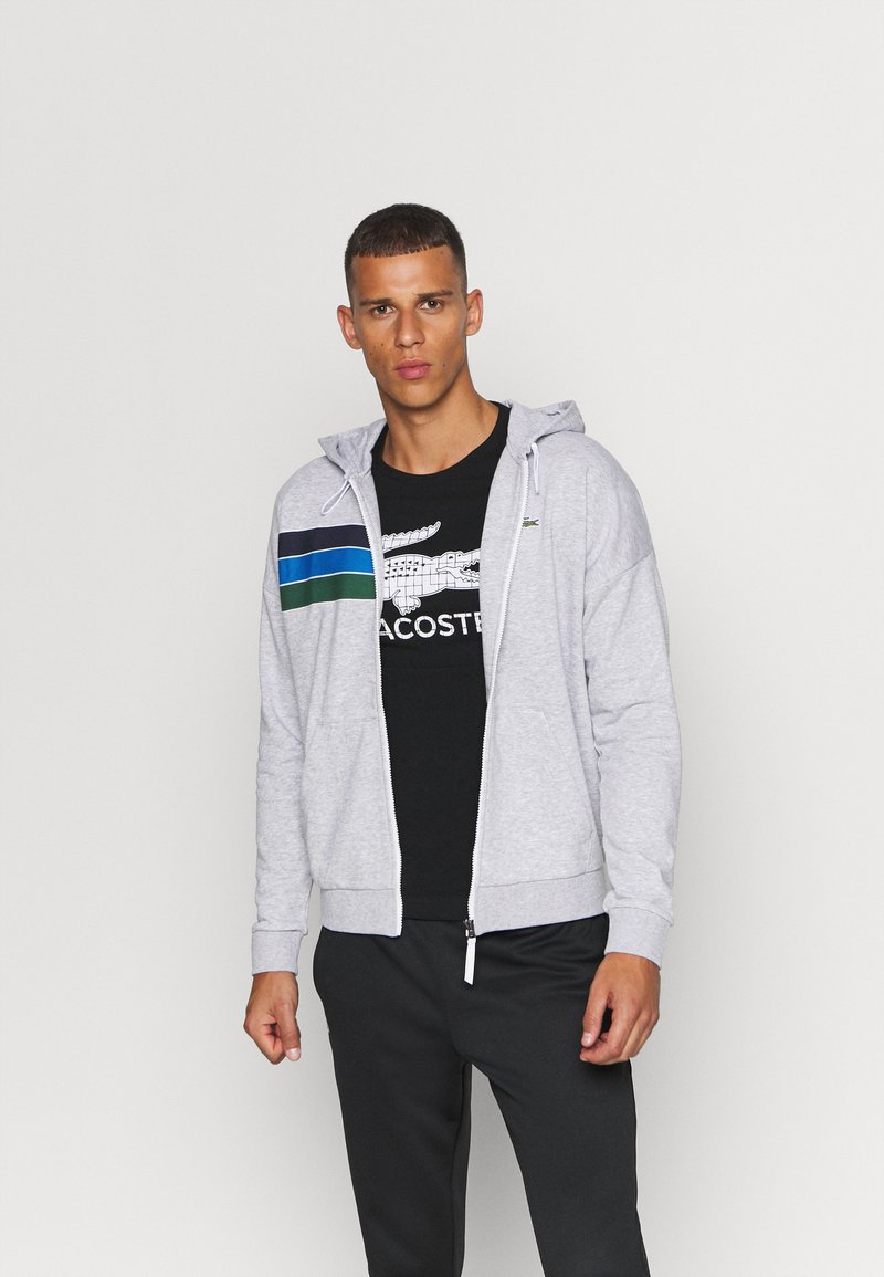 Lacoste Sport - RAINBOW JACKET - Zip-up hoodie - silver chine/navy blue/utramarine/green/white