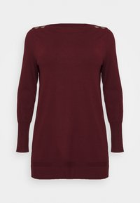Evans - BERRY BUTTON CUFF TUNIC - Jumper - berry - 3