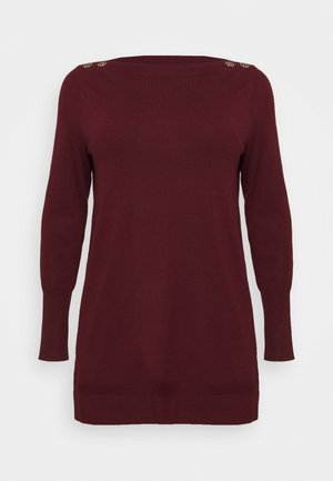 BERRY BUTTON CUFF TUNIC - Strikkegenser - berry