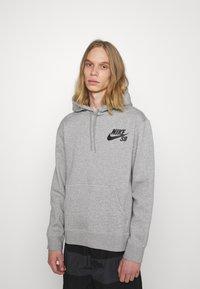 Nike SB - ICON HOODIE UNISEX - Hoodie - grey heather/black - 0