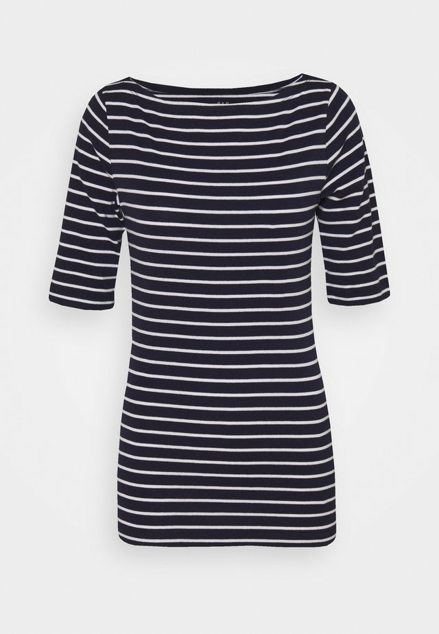 BOATNECK - Print T-shirt - navy/white