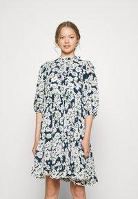 byTiMo - DOBBY MIDI DRESS - Shirt dress - blue - 0