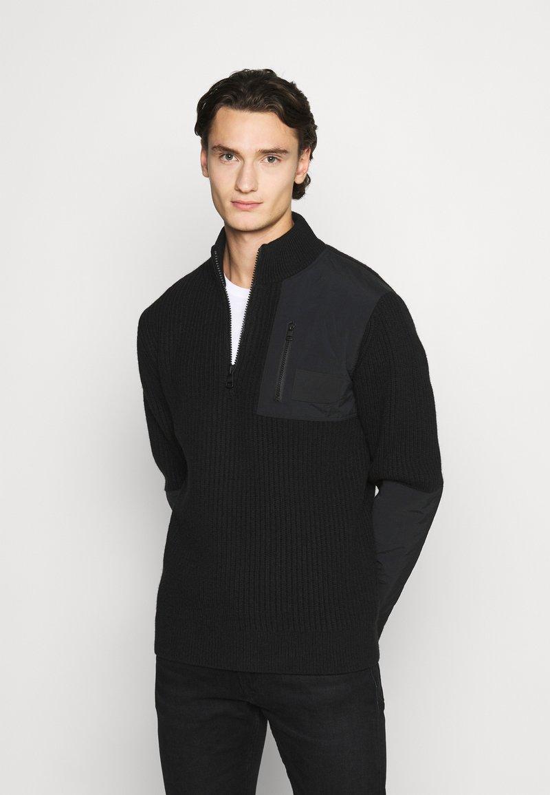 Calvin Klein Jeans - UTILITY HALF ZIP SWEATER - Jumper - black