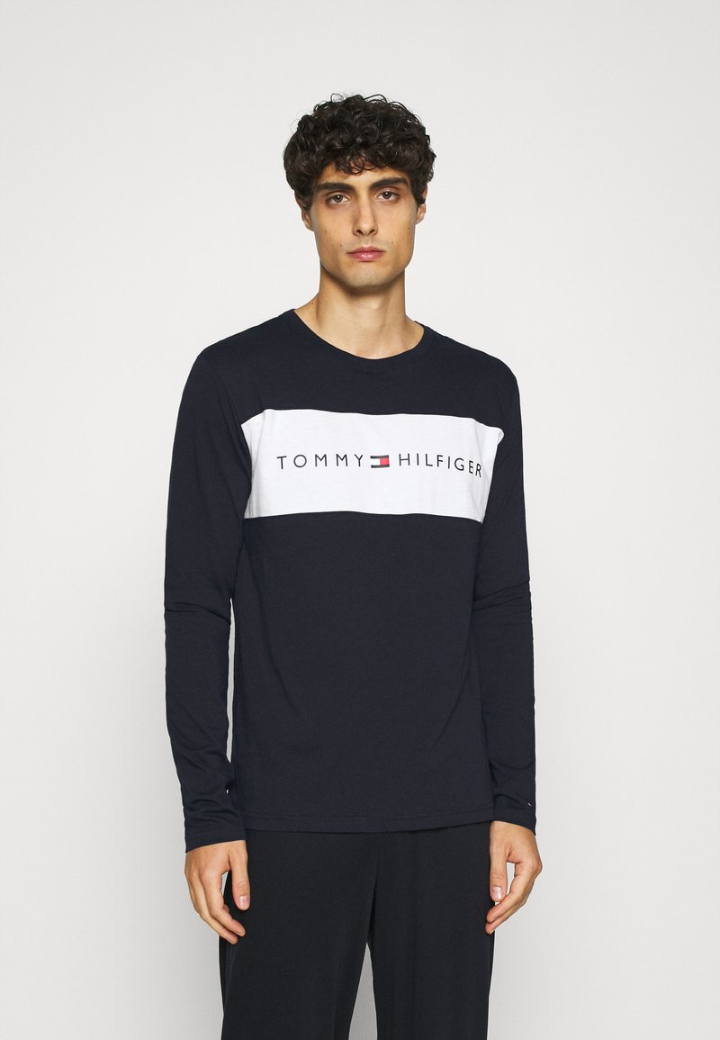 Tommy Hilfiger - TEE LOGO FLAG - Pyjama top - blue