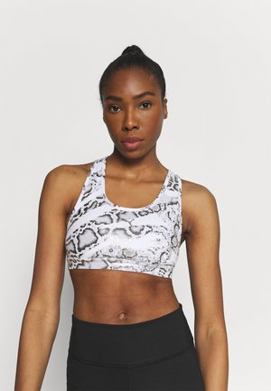 MID IMPACT 4KEEPS GRAPHIC - Medium support sports bra - white/castlerock