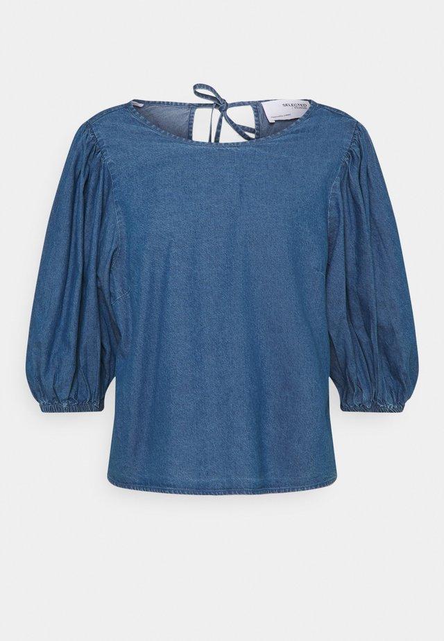 SLFCLARISA PUFF SLEEVE - Blouse - medium blue denim