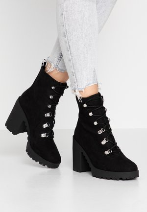 CHUNKY LACE UP BOOT - High heeled ankle boots - black