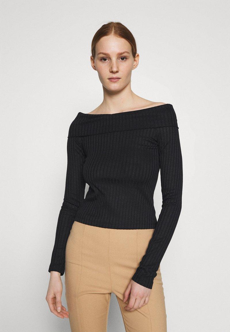 NA-KD - LONG SLEEVE OVERLAP - Long sleeved top - black