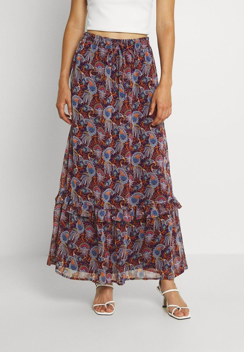 Vila - VIFALIA WIDE MAXI SKIRT - Maxi skirt - winetasting blue