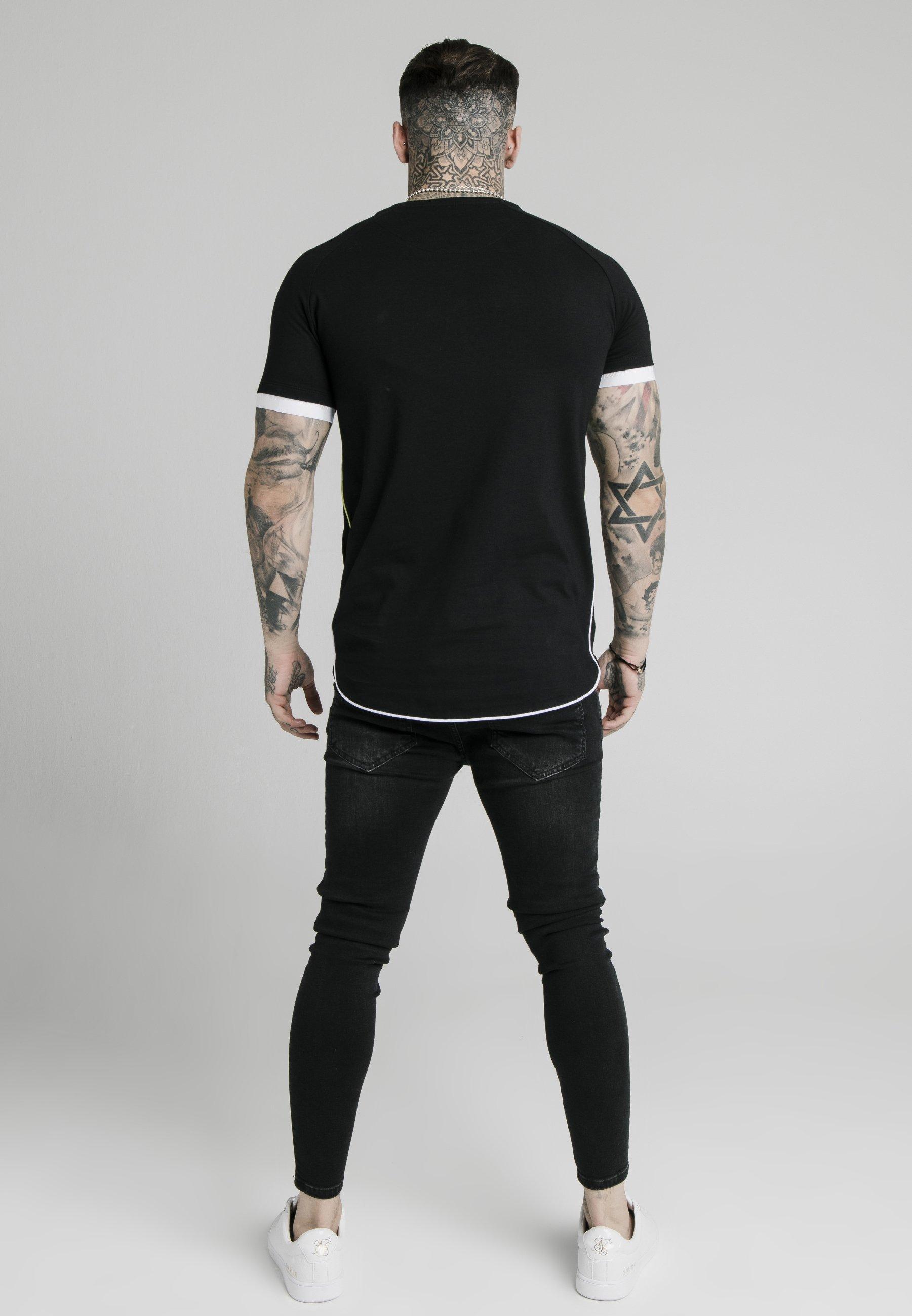 SIKSILK PIPING TECH - Print T-shirt - black LrvJ6