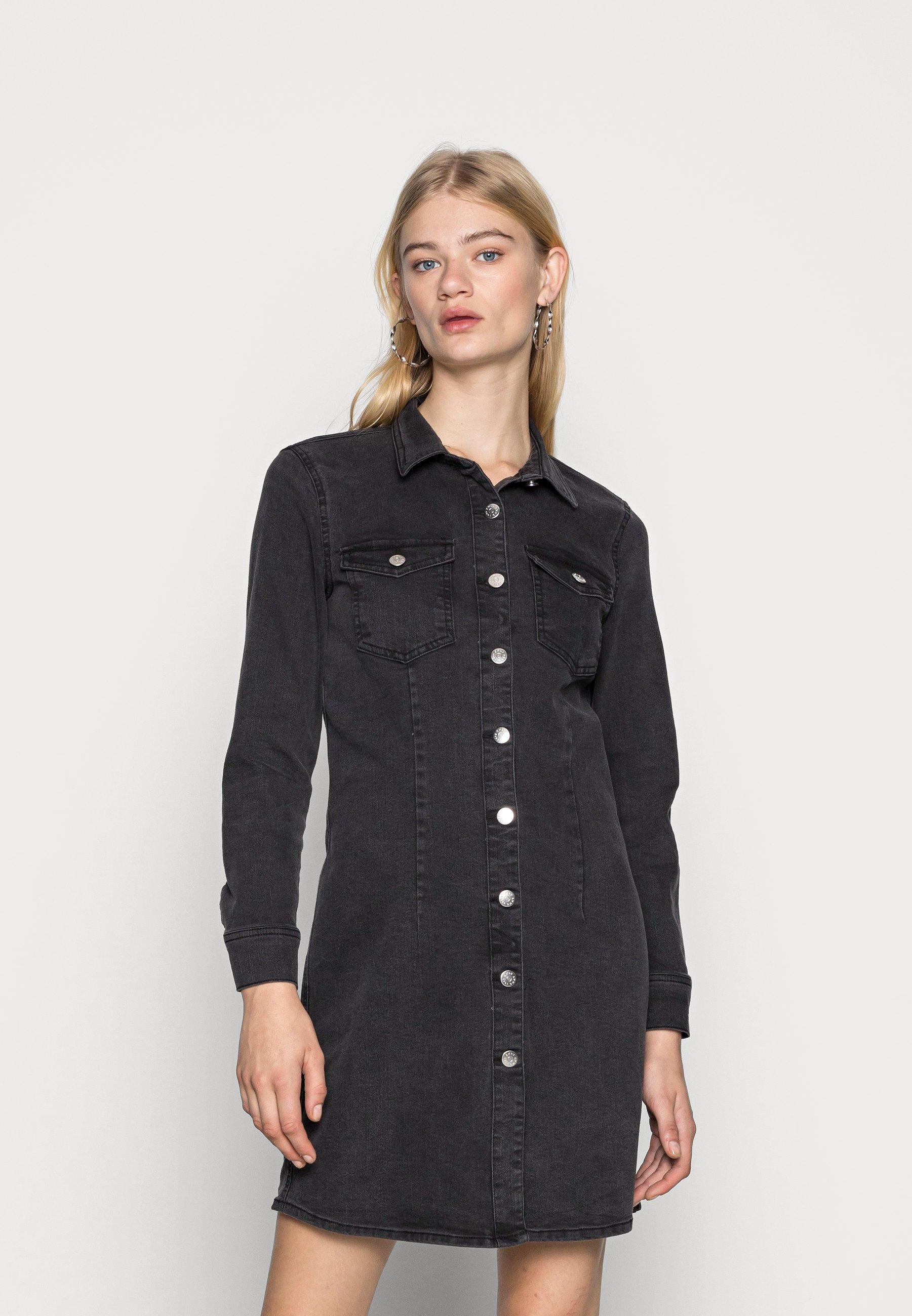 Women ONLBONNIE BUTTON DRESS - Denim dress