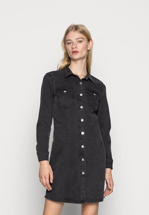 ONLBONNIE BUTTON DRESS - Denim dress - black denim
