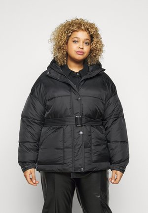 HOODED SELF BELTED PUFFER JACKET - Zimní bunda - black