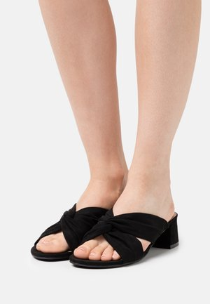 WIDE FIT CALAIS - Heeled mules - black