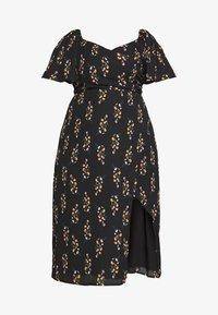 Fashion Union Plus - FLORAL WRAP FRONT MIDI DRESS - Denní šaty - black - 4