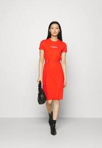 Calvin Klein - LOGO DRESS - Jersey dress - fiesta - 1