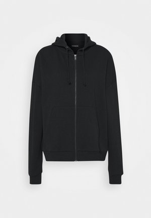 Oversized Hooded Sweat Jacket - Collegetakki - black