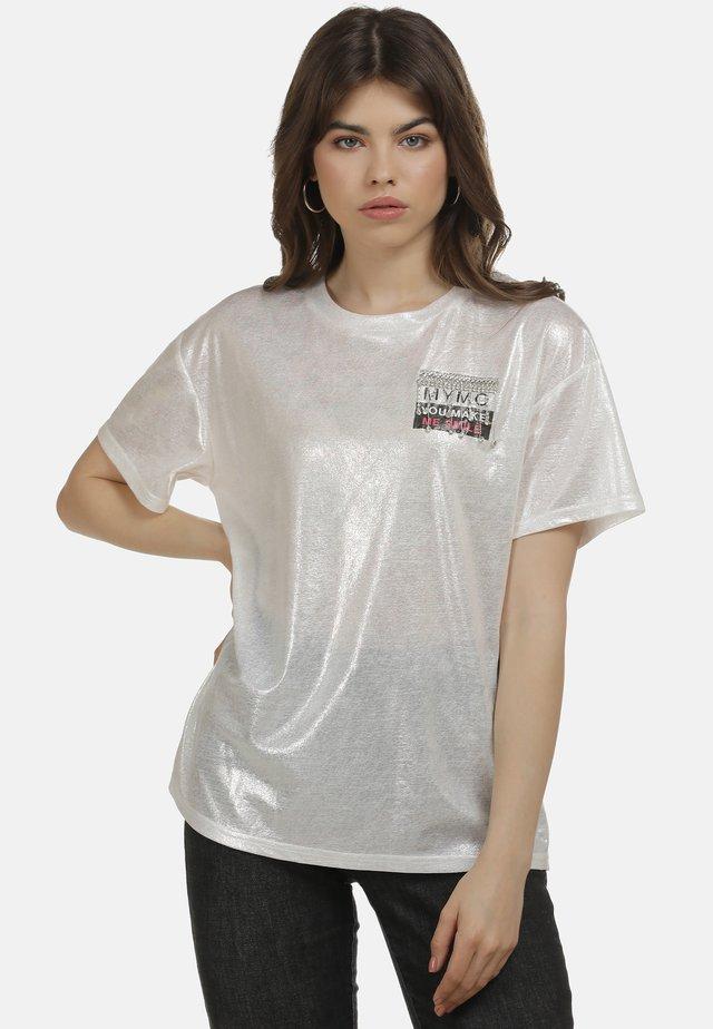 T-shirt imprimé - weiss glitzer