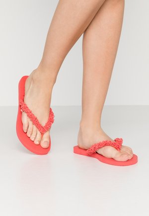 SLIM FRINGE - T-bar sandals - coral