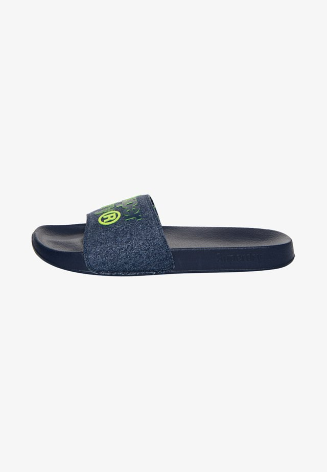 LINEMAN BADESANDALEN - Mules - navy blue / navy speckled / neon lime green