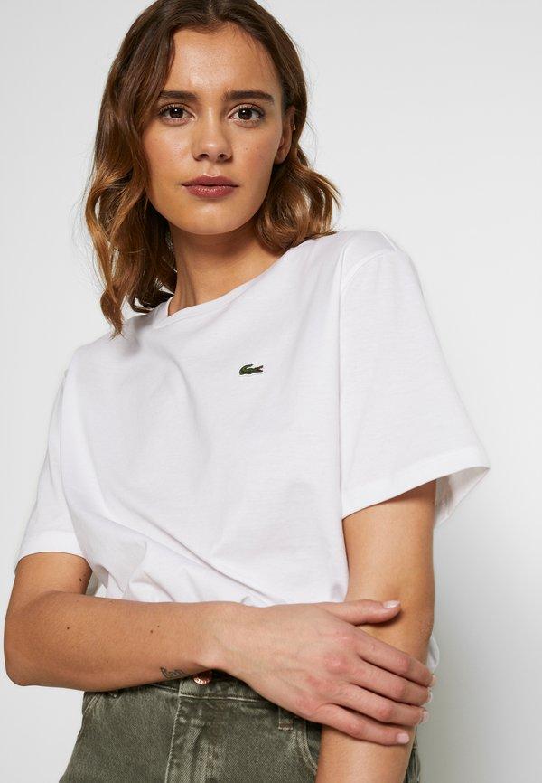 Lacoste BASIC CREW - T-shirt basic - white Kolor jednolity Odzież Damska XMAS IE 3