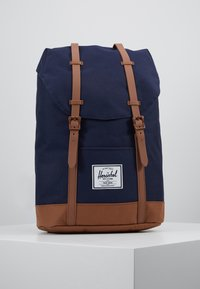 Herschel - RETREAT - Rucksack - peacoat/saddle brown - 0