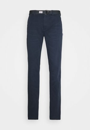 TAPERED BELTED PANT - Chinosy - dark blue