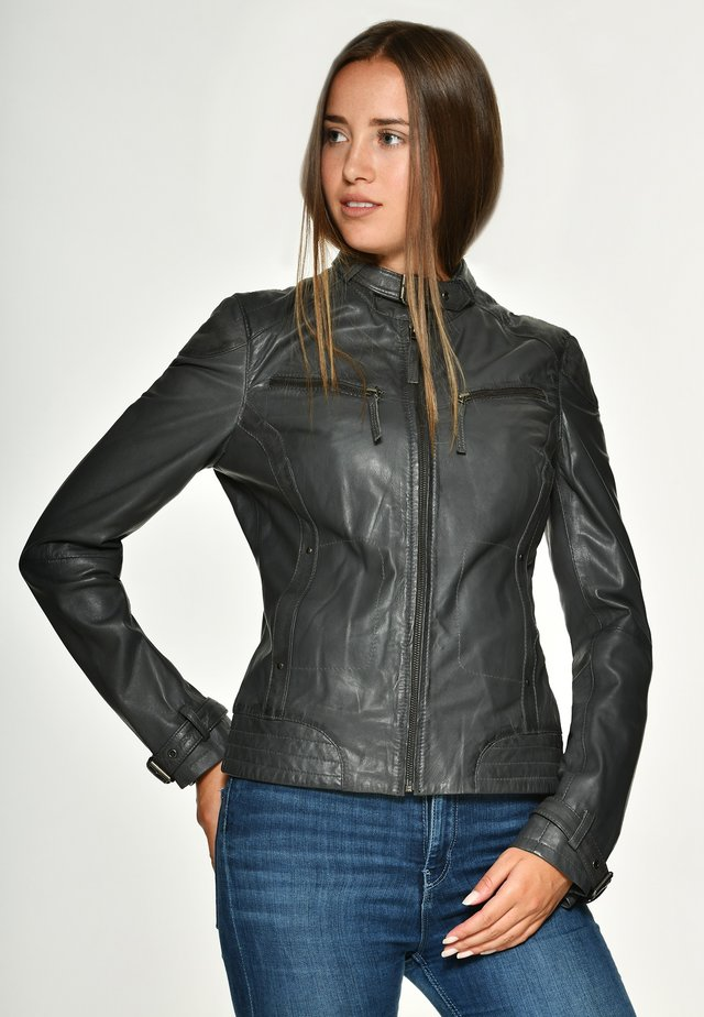 RYANA - Leren jas - dark grey