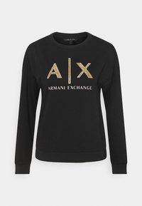 Armani Exchange - FELPA - Sweatshirt - black base/gold - 0
