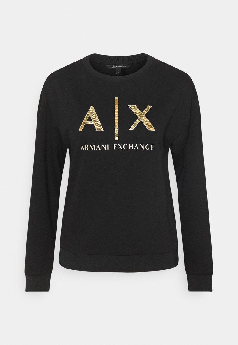 Armani Exchange - FELPA - Sweatshirt - black base/gold