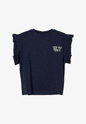 MIT RÜSCHEN-ÄRMELN - Print T-shirt - dark blue