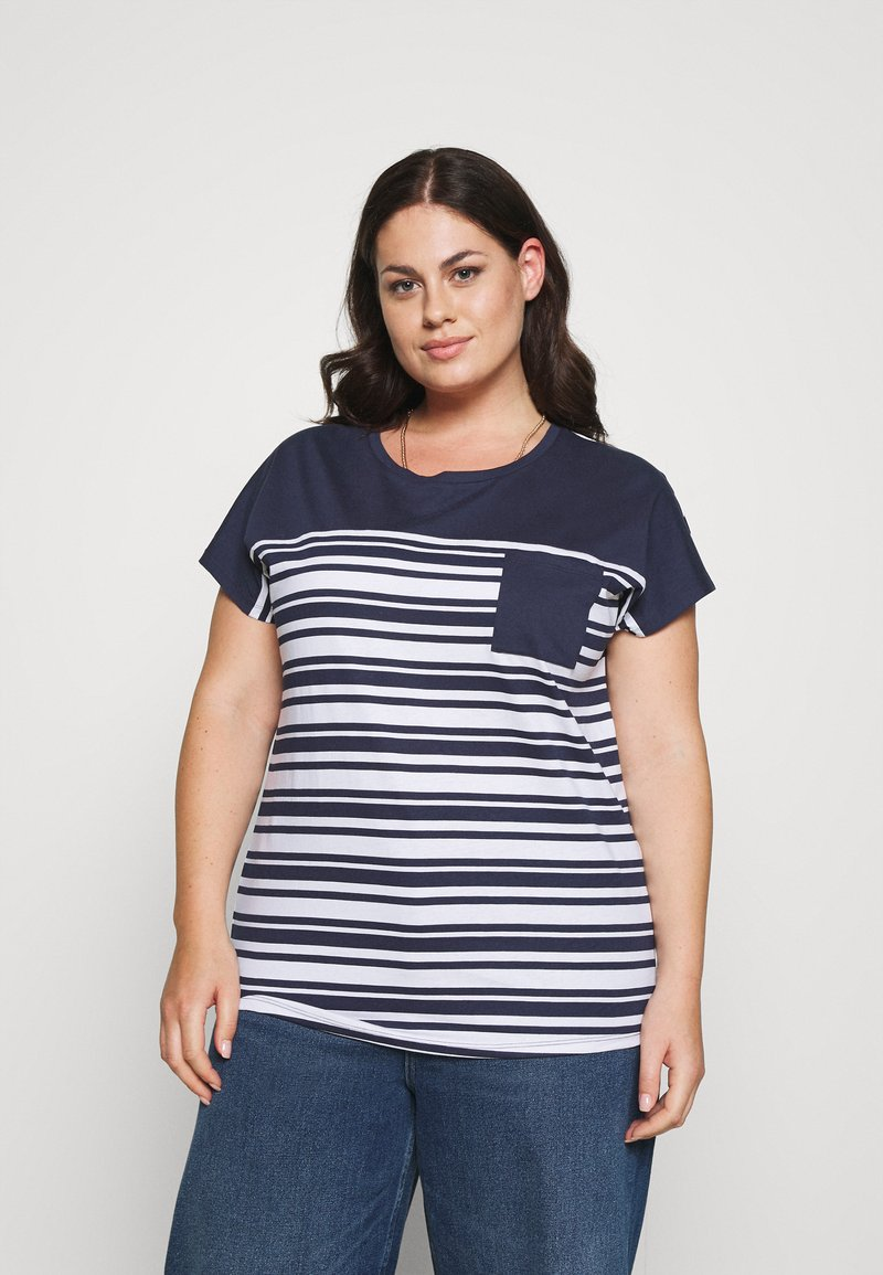 CAPSULE by Simply Be - CURVED HEM TEE WITH BUTTON DETAIL - T-shirts med print - black/ivory stripe