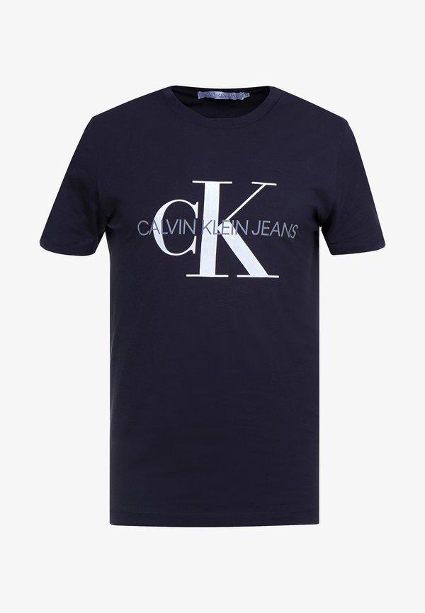 Calvin Klein Jeans ICONIC MONOGRAM SLIM TEE - T-shirt z nadrukiem - night sky/granatowy Odzież Męska FQRA