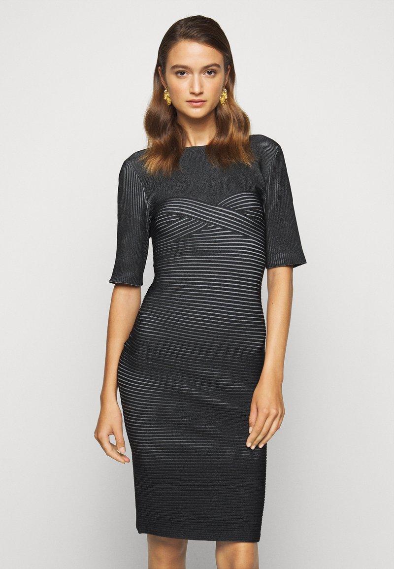 Hervé Léger - PLAITED TRANSFER BUSTIER DETAIL DRESS - Jumper dress - black alabaster