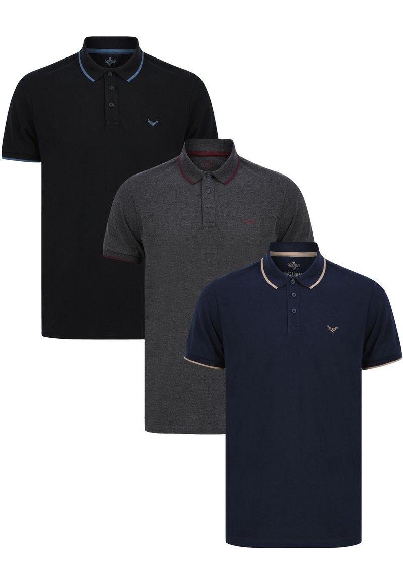 Threadbare - 3 PACK - Polo shirt - schwarz