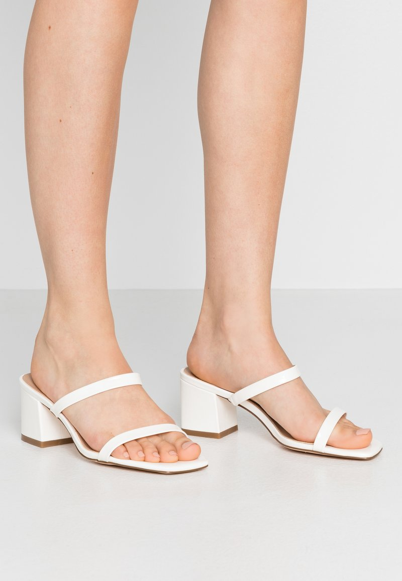 NA-KD - SQUARED TWO STRAP - Heeled mules - white