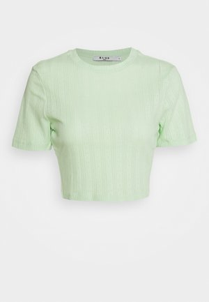 STRUCTURED CROPPED RIBBED TEE - Jednoduché triko - green