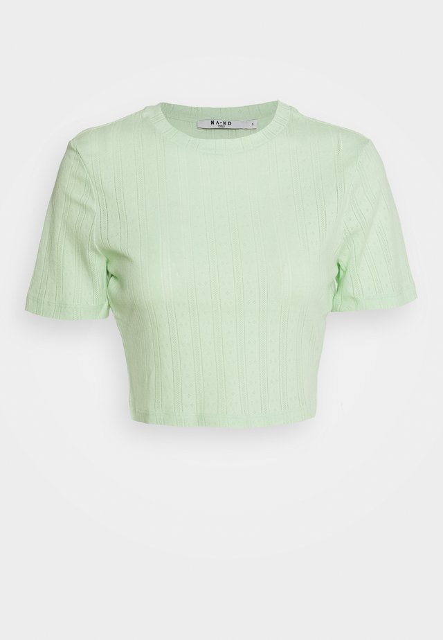 STRUCTURED CROPPED RIBBED TEE - T-shirts - green