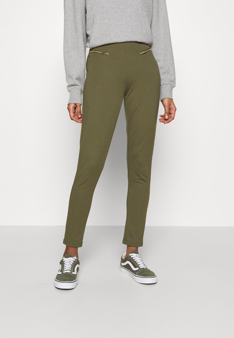 Even&Odd - ZIP PUNTO LEGGINGS - Leggings - Trousers - dark green