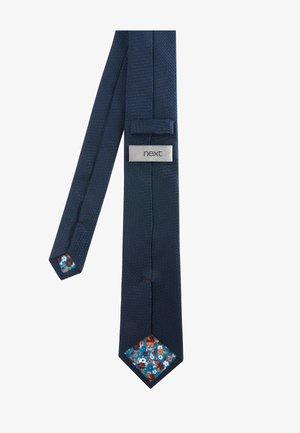 NAVY TEXTURED TIE WITH TIE CLIP - Tie - blue