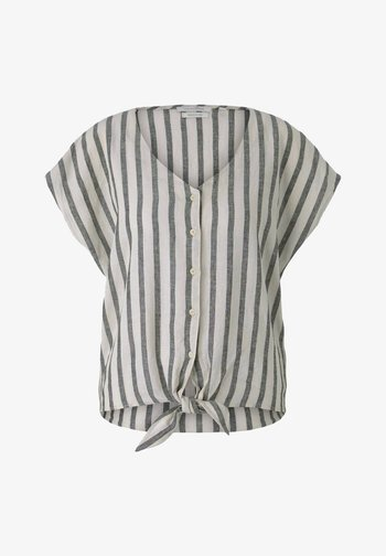 Blouse - black beige stripe
