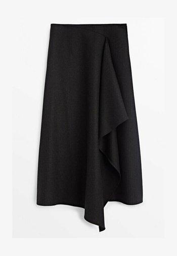 MIT ZIERFALTE VORN  - Wrap skirt - dark grey