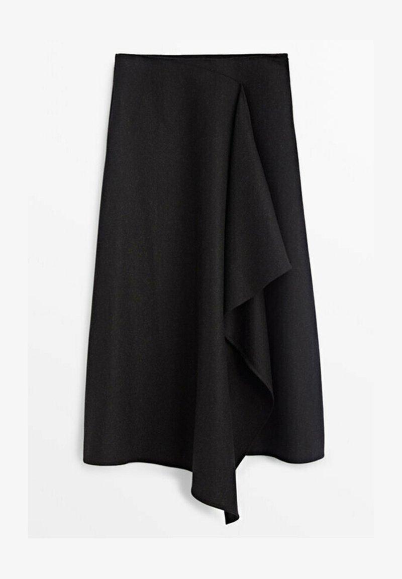 Massimo Dutti - MIT ZIERFALTE VORN  - Wrap skirt - dark grey
