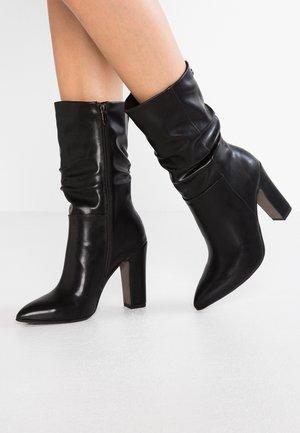 Højhælede støvler - black matt