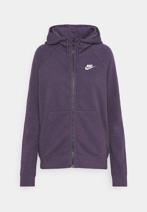 Zip-up hoodie - dark raisin/white